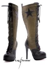 Bottes Army - Bottes lac�es faux cuir style Army, talons aiguilles de 14 cm, compens� de 3 cm.