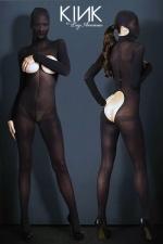 Combinaison voile Hooded Opaque - Combinaison cagoule BDSM en voile opaque, ouverte sur les seins et les fesses.