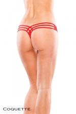 String à lanières - Rouge - String fantaisie avec un motif sensuel dessiné par les lanières qui s'entrecroisent sur les fesses.