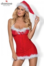 Robe de noël Merrily  - Robe sexy de mère Noël et son bonnet assorti, très aguicheuse avec la fine résille rouge et les chaudes bordures de fourrure.