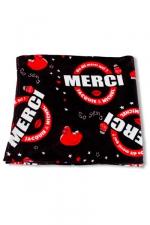 Plaid polaire J et M - noir - Plaid polaire JACQUIE et MICHEL noir, avec le célèbre slogan  On dit merci qui? .