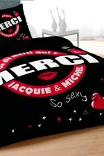 Parure de couette J et M 240x220 cm - noir - Qui de mieux que Jacquie et Michel pour décorer votre lit d'un message coquin et sans tabou?