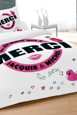 Parure de couette J et M 240x220 cm - blanc - Avec le set housse et 2 taies d'oreillers, qui de mieux que Jacquie et Michel pour décorer son lit d'un message 100% explicite.