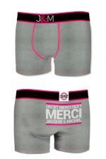 Boxer J&M en coton - gris - Ne loupez jamais une belle occasion de montrer votre... Boxer (modèle gris en coton) Jacquie et Michel.