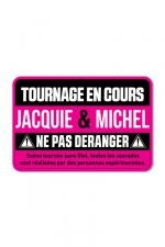 Plaque de porte J&M Tournage en cours - Plaque de porte humoristique Jacquie et Michel, en PVC, avec message: tournage en cours, ne pas déranger.