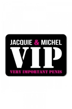 Plaque de porte J&M VIP - Plaque de porte humoristique Jacquie et Michel, en PVC, avec message: Jacquie & Michel VIP.