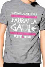 Tee-Shirt J&M j'aurai la Gaule - gris -  Comme disait César, j'aurai la Gaule , un T-shirt de la collection officielle Jacquie & Michel. Coloris gris.