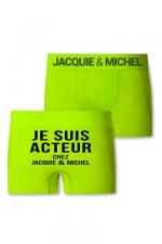 Boxer J&M Acteur - Boxer sans couture, coloris anis,  avec inscription  Je suis acteur chez Jacquie et Michel  sur l'arrière.
