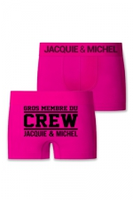 Boxer J&M Crew - Boxer sans couture, coloris fuchsia,  avec inscription  Gros membre du CREW Jacquie et Michel  sur l'arrière.