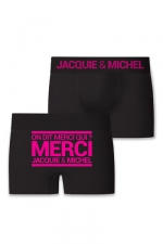 Boxer J&M Merci qui - Boxer sans couture, coloris noir,  avec inscription  On dit merci qui? Merci Jacquie & Michel  sur l'arrière.
