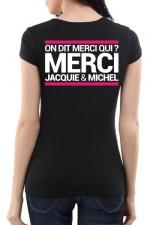Tee-shirt  J&M noir - spécial  femme - JM pensent aussi (et surtout) aux femmes avec un tee-shirt spécifique mettant mieux en valeur leurs charmes.