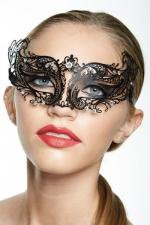 Masque vénitien Spirit 3 - Masque vénitien en métal incrusté de strass, deux ailes mystérieuses capturent votre regard.