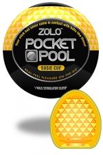 Zolo Susie Cue - Masturbateur de poche Pocket Pool ™  Susie Cue de marque Zolo, avec texture  taillée en diamant.
