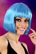 Perruque cheveux courts bleu - Perruque fantaisie avec cheveux courts couleur bleu, marque Cabaret Wigs.