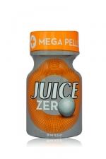 Poppers Juice zero 9 ml - Poppers hybride pour des sensations max et confort accru avec fermeture   Mega Pellet , en petit flacon de 9 ml.