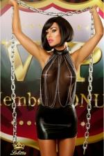Bestseller - Robe sexy - Mini robe sexy wetlook moulante sur les hanches, avec un bustier en résille dos nu décoré d'une cascade de chaînes chromées.