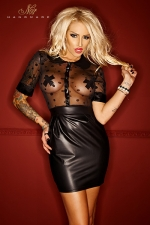 Robe Bad Stylish - Une robe provocante en résille et wetlook au style très classe avec sa coupe tailleur et son col Claudine.