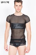 T-shirt Thunder - En résille fantaisie et faux cuir, osez le tee-shirt homme (très) sexy !