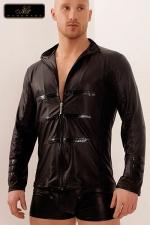 Chemise zippée Lord - Chemise en wetlook mat décorée de bandes vinyles sur le torse et le bas des manches, le style personnifié !
